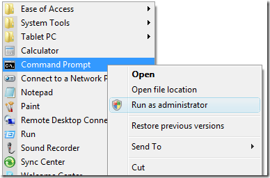 run as administrator command prompt