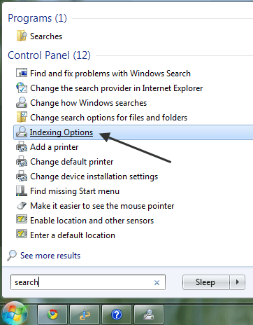 windows 7 8 10 file search indexing options