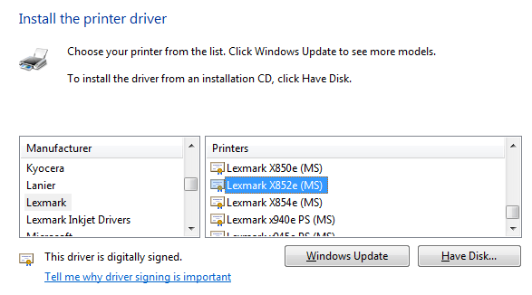 Share A Printer From Xp To Windows 7810