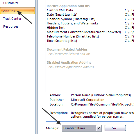 how to disable add ins in outlook 2010 from registry