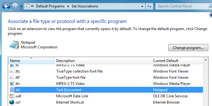 how to set open with default windows 10