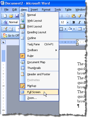 view word documents in full screen mode