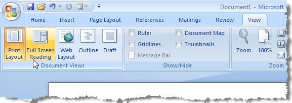 Word presentation mode