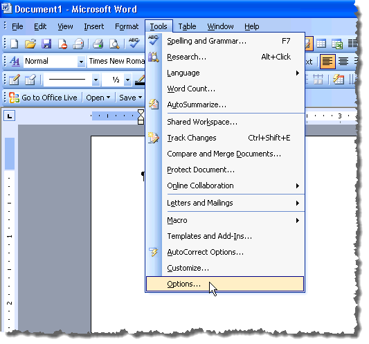 Change measurement units in microsoft word selecting options from the tools menu in word 2003 spiritdancerdesigns Images