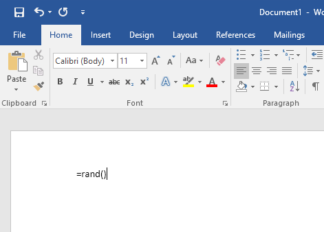 generate random text or lorem ipsum text in ms word
