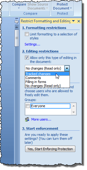 ms word track changes off
