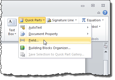selecting field from the quick parts drop down menu
