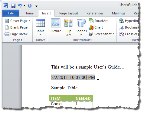 how to put a date in word