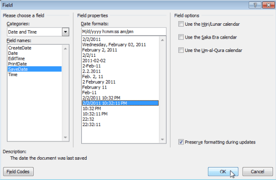 Viewing and inserting the date a document was last modified in a viewing and inserting the date a document was last modified in a word document fandeluxe Choice Image