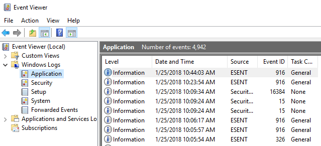 export clear and increase size for event logs in windows