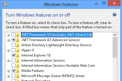 Install .NET Framework 3.5, 3.0, 2.0 on Windows 8/10