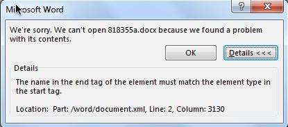 fix end tag start tag mismatch error when opening docx files
